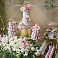 Beautiful Dessert Buffet | Featuring macaron towers by our wedding vendor @macaron_delights @cupcakes.by.rita @stemsbyabby @sweetheavenlyeventshire @edgehousedesign #brides_style