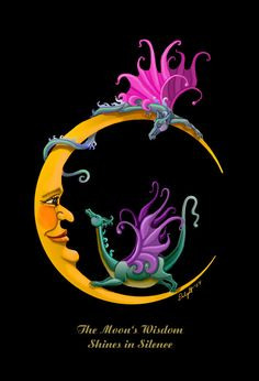 Moon Dragons. dragon, crescent moon, whimsy, baby, giclee. 11x14 unframed…