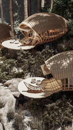 Organic Architecture, Futuristic Architecture, Amazing Architecture, Architecture Design, Bamboo Architecture, Villa Design, Modern House Design, Bamboo House Bali, Cabin In The Woods