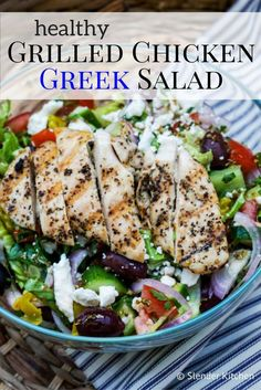 This healthy Grilled Chicken Greek Salad is the perfect light and healthy dinner…