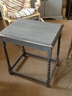 Upcycled occasional table. Specialist finish with Blue Grey mix. For sale at Timeless Homes CA1 1BJ