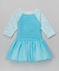 Another great find on #zulily! Blue Ruffle Raglan Dress - Infant, Toddler & Girls #zulilyfinds