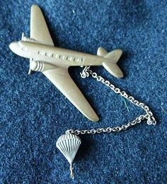 WWII large sweetheart pin C-47 SKYTRAIN DROPPING PARATROOPER