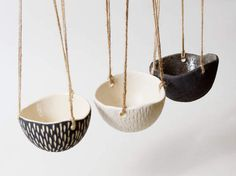 Modern Black Planter Ceramic Hanging Planter by CatsCeramics