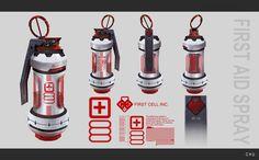 Grenade First Aid Spray, Janice Chu on ArtStation at http://www.artstation.com/artwork/grenade-first-aid-spray