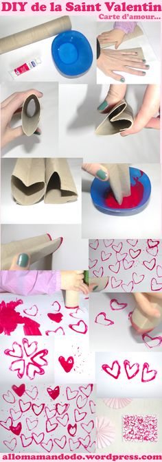 saint valentin amour coeur diy tuto enfant choose color scheme print, add splats and drops, glitter