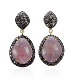 Thomas Laine elements: Gray Pink Sapphire and Black Diamond Earrings