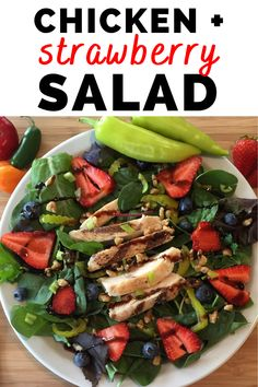 This healthy chicken strawberry salad is packed with good nutrition!  It's a high protein lunch recipe that will keep you feeling full.  This healthy salad recipe is also packed with other nutritious ingredients like wild blueberries, greens, and walnuts.