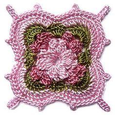 """If you click on """"ici"""", you'll get the pattern.  Le schéma pour faire ce carré au crochet est ici"""