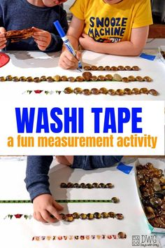 washi tape a fun preschool indoor game for kids, learn measurement with this breakfast invitation Games For Preschoolers Indoor, Indoor Activities For Kids, Toddler Activities, Preschool Math Games, Kindergarten Learning, Preschool Activities, Preschool Centers, Educational Activities, Teaching Measurement