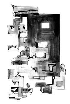 Francois Pretorius - The Ruins (2014) #art #illustration #indianink #design #city