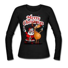 #Weihnachten #Weihnachtsmann #Langarmshirt Merry Christmas - Weihnachtsmann und seine Rentier Frauen Langarmshirt. #Spreadshirt #Cardvibes #Tekenaartje #SOLD