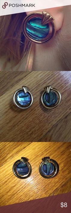 Clip on earrings Bluish green stone clip on earrings, like new Jewelry Earrings