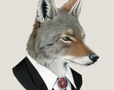 Coyote art print - Animal art - Nursery art - Nursery decor - Animals in Clothes - Children's art - Ryan Berkley Illustration 5x7