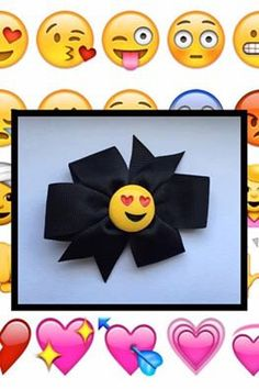 A personal favorite from my Etsy shop https://www.etsy.com/listing/453505664/emoji-hair-bow-3-inches
