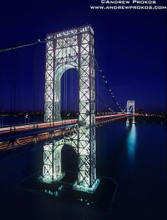 Photos of George Washington Bridge - Fine Art Prints, High-Res Stock Images - View of George Washington Bridge at Night