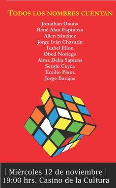 """Te invitamos a la presentación del libro """"Todos los Nombres Cuentan"""". Miércoles 12 de noviembre de 2014. Casino de la Cultura, a las 19:00 horas. Entrada libre. Culiacán, Sinaloa."""