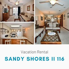 Sandy Shores II 116 is a two-bedroom, two-bath second-row condo. This condo features Three TVs (46-inch Samsung in living room), Roku, BluRay player, and Wi-Fi are also provided. Sleeping accommodations include one queen, one double-sized bed, plus one twin-over-double bunk bed set. Limit one parking pass per unit. Elevator. Trailers and golf carts are not permitted at this property. No smoking. No pets. Check-out maid service included. Linens included. Maximum occupancy: 6 Bunk Bed Sets, Double Bunk Beds, Bluray Player, Golf Carts, Two Bedroom, Vacation Rentals, Wi Fi, Smoking, Twin