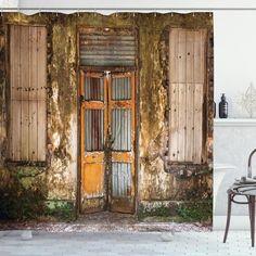 Grunge Old Door Shower Curtain – joocarhome Rod Pocket Curtains, Panel Curtains, Curtain Panels, Curtain Store, Door Molding, Shower Curtain Sets, Shower Curtains, Bathroom Bath, Colors