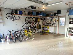 Compact Garage Interior Trevertine Tile Floor Great Garage Storage Ideas