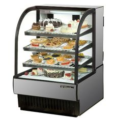 "Stainless Steel Exterior True TCGR-36 Curved Glass Refrigerated Bakery Display Case 36"" - 19 Cu. Ft."