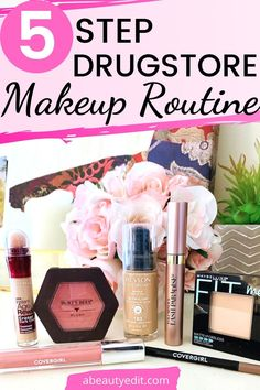 This quick and easy 5 step natural drugstore makeup routine is perfect for every day or when you are short on time. These easy steps for your skin tone, cheeks, brows, lashes and lips will provide pretty color, all while looking natural and not overdone. How To Apply Blush, How To Apply Mascara, How To Apply Makeup, Drugstore Blush, Drugstore Concealer, Natural Makeup Looks, Simple Makeup, Makeup Tips, Makeup Tutorials