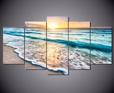 Framed Sunrise & Turquoise Canvas Prints - 5 Piece Canvas Nature Artwork Canvas Turquoise Painting on Wall Art for Office and Home Wall Decor 5 Piece Canvas Art, Canvas Artwork, Canvas Wall Art, Wall Art Prints, Canvas Prints, Cheap Interior Wall Paneling, Interior Window Shutters, Glass Wall Art, Stained Glass Art