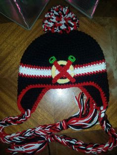 Crochet Chicago Blackhawks Hockey  Ear Flap Hat with Pom Pom & Tassels - Kids- Adult -Red - Black -White- NHL by Magicwoolball on Etsy