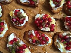 Ricotta Toasts with Pomegranate Olive Relish