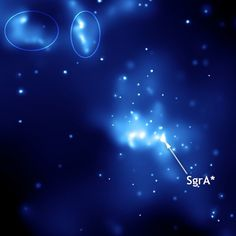 Sagittarius A*. This image was taken with NASA's Chandra X-Ray Observatory. Ellipses indicate light echoes.  Credit: NASA/Wikipedia
