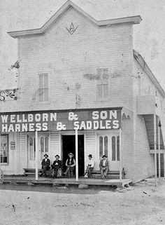 Wellborn and Sons Saddle Shop in Snyder, Texas. TOT reader Arthur Wellborn was nice enough to send in this photo of men sitting outside the exterior of the shop. The top floor was used as a Masonic hall. Arthur didn't say when this was taken, but probably about 1900.