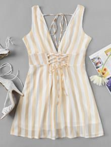 Shop Lace Up Striped Dress at ROMWE, discover more fashion styles online. Cute Summer Dresses, Trendy Dresses, Cute Dresses, Short Dresses, Romwe, Striped Dress, Dresses Online, Casual Outfits, Lace Up