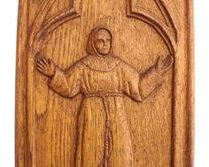 1950s Vintage Wooden Wall Plaque Vintage Wood Wall Hanging of Priest or Monk giving praise Religious Plaque  Vintage Religion
