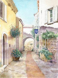 【水彩画テラス】ヨーロッパの風景3「鷲の巣村」南フランス・エズ村   福井良佑 作