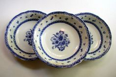 Arabia FINN FLOWER Blue Vintage Finland Pottery  Set of 3 Blue and White Cereal Bowls For Altered Art Crafts Or Wall Display Plates by LionheartGalleries on Etsy