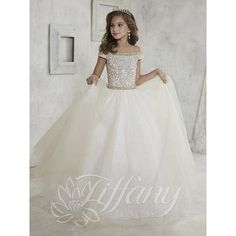 gorgeous off shoulder girls pageant dresses beaded crystal sequin sweep train ball gown pageant gowns for girls ivory kids prom dress Little Girl Gowns, Gowns For Girls, Little Girl Pageant Dresses, Little Girl Princess Dresses, Little Girls Fancy Dresses, Princess Girl, Princess Style, Kids Prom Dresses, Bridesmaid Dresses