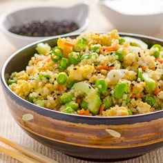Japanese Quinoa Salad Recipe -- Quick gluten free salad with edamame, cucumbers, scallions and Ginger Soy and Sesame dressing. I'll leave out the Edamame to make it paleo Clean Eating Recipes, Healthy Eating, Cooking Recipes, Lunch Snacks, Quinoa Salad Recipes, Vegetarian Recipes, Quinoa Recipe, Lunch Recipes, Free Recipes