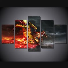 Style Your Home Today With This Amazing 5 Piece Multi Panel Modern Home Decor Framed Reverse Flash Eobard Thawne Wall Canvas Art For $99.00  Discover more canvas selection here http://www.octotreasures.com  If you want to create a customized canvas by printing your own pictures or photos, please contact us.