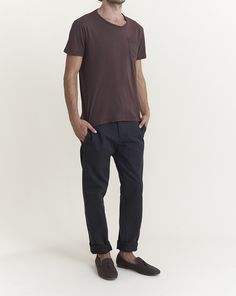Officine Generale T Shirt With Jersey Contrast Pocket In Burgundy