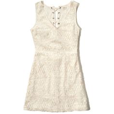 Hollister Lace-Up Open Back Skater Dress ($30) ❤ liked on Polyvore featuring dresses, white lace, white day dress, v neck dress, white dress, v-neck dresses and white lace dress