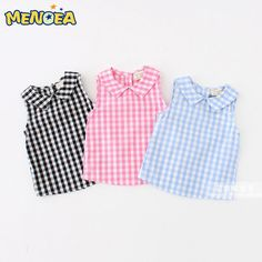 Cheap girls blouse, Buy Quality blouse baby directly from China blouse girl Suppliers: summer baby girls shirt girls plaid blouse baby cotton tops kids shirts baby shirts girls blouses 2017 new arrival drop New Fashion Summer Style Kids Baby Girl Shirts, Baby Girl Dresses, Shirts For Girls, Kids Shirts, Baby Dress Design, Sleeveless Outfit, Girl Dress Patterns, Girls Blouse, Baby Sewing