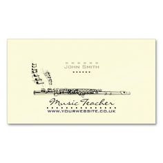 Elegant Business Card that would be ideal for Wood-wind Musicians, Teachers of Music Etc. Design features a Flute/Musical Notes