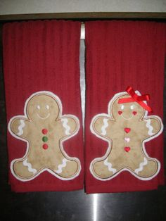Items similar to GingerBread Boy and Girl 2 Appliqued Kitchen Towels on Etsy Christmas Time, Merry Christmas, Christmas Hand Towels, Monogram Machine, Christmas Decorations, Holiday Decor, Cute Crafts, Embroidery Applique, Quilting Projects