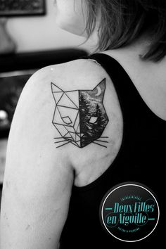 cat chat origami dotwork tattoo tatouage landscape paysage deux filles en aiguille