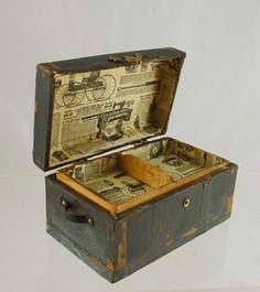 Dollhouse Miniature Antiqued Copper Flat Top Trunk