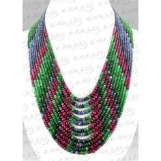 11 Strand Multi Gemstone Ruby,Emerald,Sapphires Beaded Necklace