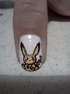 Pikachu Nail Art by Me attempt 1 (not to bad but still a fail)