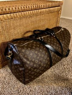 LV Bandouliere Keepall 55 Black Leather on Mercari Louis Vuitton Luggage, Louis Vuitton Keepall, Louis Vuitton Speedy Bag, Louis Vuitton Monogram, Cowhide Leather, Black Leather, Travel Light, Monogram Canvas, Leather Handle