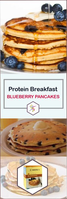 BariatricPal Hot Protein Breakfast - Blueberry PancakesStart the day off right with the sweet taste of fresh blueberries in a fluffy pancake. With BariatricPal Hot Protein Breakfast – Blueberry Pancake, you can enjoy a protein-packed, energizing breakfast Protein Breakfast, Breakfast Recipes, Breakfast Ideas, Breakfast Casserole, Overnight Breakfast, Pancake Recipes, Breakfast Pancakes, Breakfast Bars, Breakfast Dishes