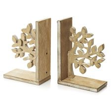 Wilko Wooden Tree Bookends